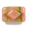 Glass Bead Rectangle 12x8mm Rose/Olive Stripe Strung